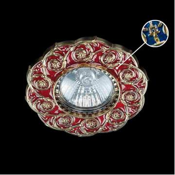 Встраиваемый светильник Artglass SPOT 52 BLUE, 1xGU10x35W, золото, синий, металл