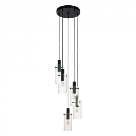 Люстра-каскад Eglo Montefino 97368, 5xE27x60W, черный, прозрачный, металл, стекло