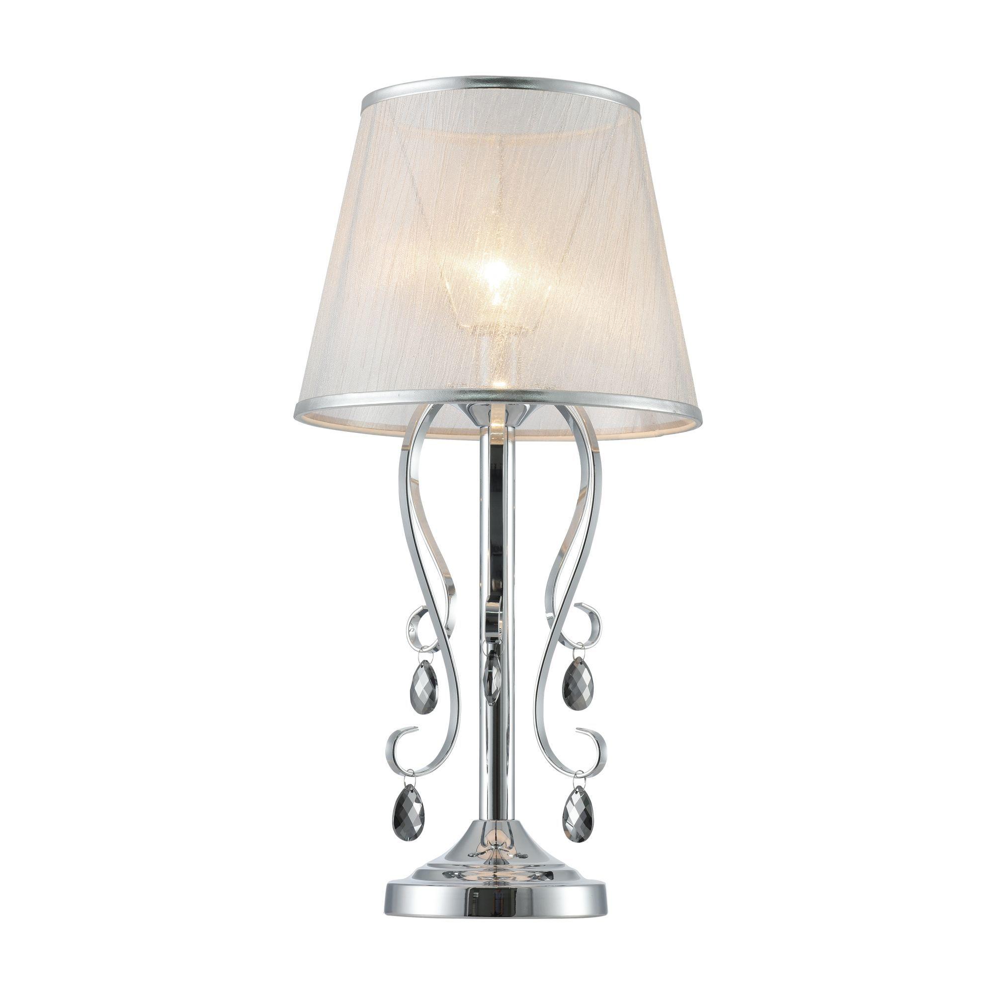Настольная лампа Freya Simone FR2020-TL-01-CH, 1xE14x40W, хром, серебро, прозрачный, металл, текстиль, хрусталь - фото 1