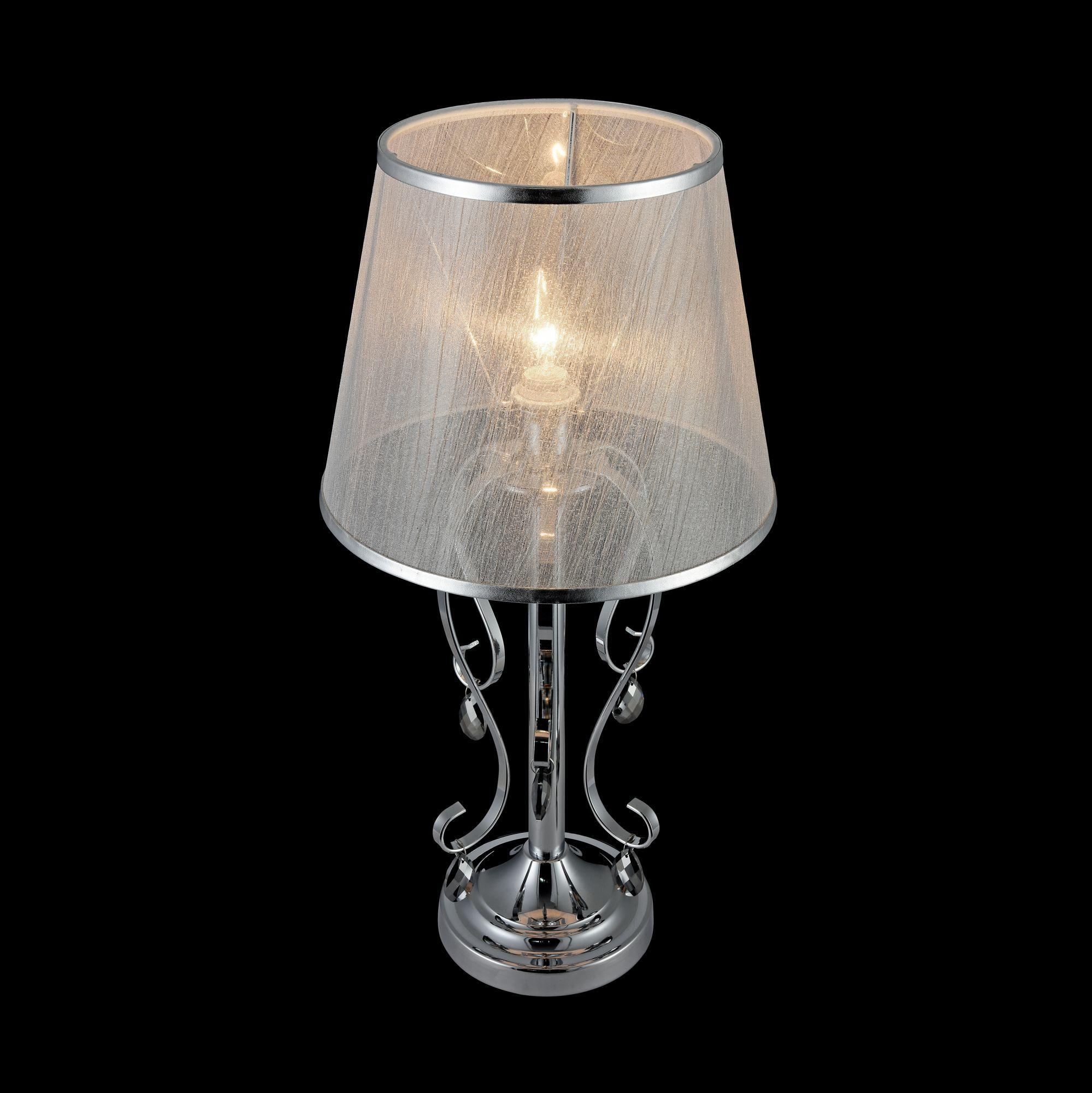 Настольная лампа Freya Simone FR2020-TL-01-CH, 1xE14x40W, хром, серебро, прозрачный, металл, текстиль, хрусталь - фото 6