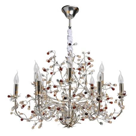 Подвесная люстра Chiaro Виола 298013209, 9xE14x40W, серебро, янтарь, металл