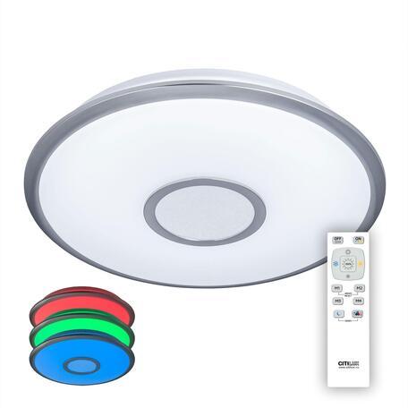 Потолочный светодиодный светильник с пультом ДУ Citilux Старлайт CL70340mRGB, LED 40W 3000-4500K + RGB 3200lm, белый, хром, металл, пластик