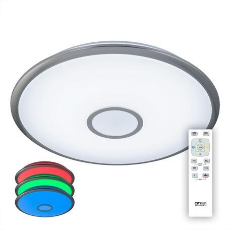 Потолочный светодиодный светильник с пультом ДУ Citilux Старлайт CL70380mRGB, LED 80W 3000-4500K + RGB 6400lm, белый, хром, металл, пластик