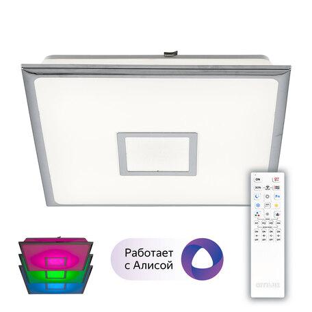 Потолочный светодиодный светильник Citilux Старлайт Смарт CL703AK50G, LED 55W 3000-5500K + RGB 5200lm, белый, хром, металл, пластик