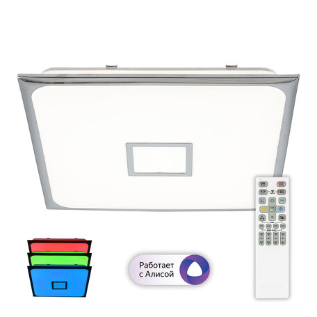 Потолочный светодиодный светильник с пультом ДУ Citilux Старлайт CL703AK80G, LED 90W 3000-5500K + RGB 8600lm, хром, белый, металл, пластик