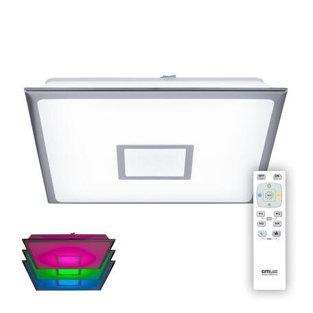 Потолочный светодиодный светильник с пультом ДУ Citilux Старлайт CL703K50mRB, LED 50W 3000-4500K + RGB 4000lm, хром, белый, металл, пластик