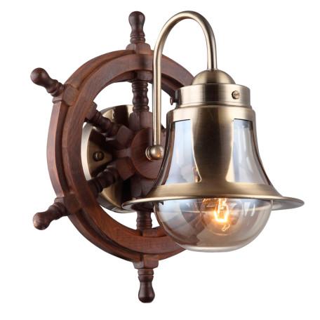 Бра Arte Lamp Timone A7006AP-1AB, 1xE27x60W, бронза, коричневый, янтарь, дерево, металл со стеклом