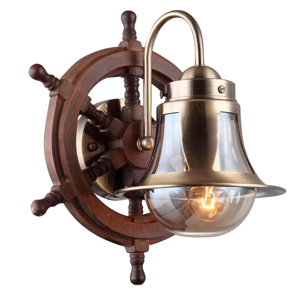 Бра Arte Lamp Timone A7006AP-1AB, 1xE27x60W, бронза, коричневый, янтарь, дерево, металл со стеклом - фото 1