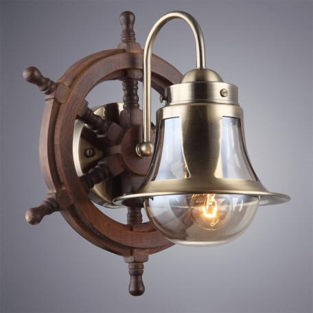 Бра Arte Lamp Timone A7006AP-1AB, 1xE27x60W, бронза, коричневый, янтарь, дерево, металл со стеклом - миниатюра 2