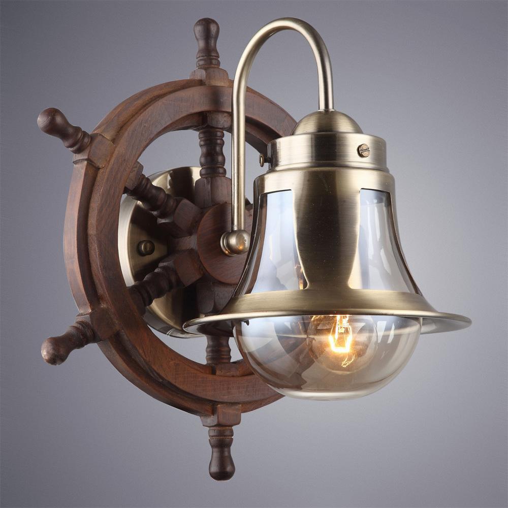 Бра Arte Lamp Timone A7006AP-1AB, 1xE27x60W, бронза, коричневый, янтарь, дерево, металл со стеклом - фото 2