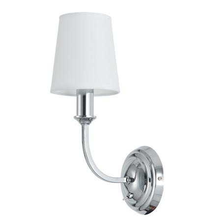 Бра Arte Lamp Patricia A9022AP-1CC, 1xE14x40W, хром, белый, металл, текстиль
