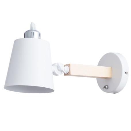 Бра с регулировкой направления света Arte Lamp Oscar A7141AP-1WH, 1xE27x40W, белый, коричневый, дерево, металл