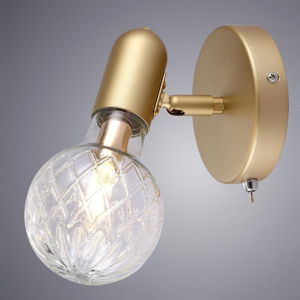 Настенный светильник с регулировкой направления света Arte Lamp Salute A8040AP-1SG, 1xG9x33W, матовое золото, прозрачный, металл, стекло - фото 2
