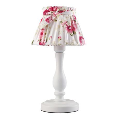 Настольная лампа Arte Lamp Margherita A7021LT-1WH, 1xE14x40W, белый, розовый, металл, текстиль