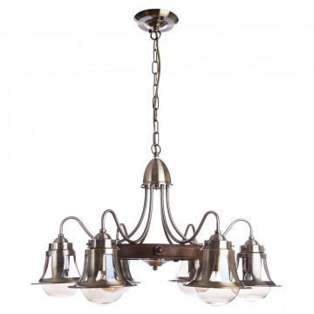 Подвесная люстра Arte Lamp Timone A7006LM-6AB, 6xE27x60W, бронза, коричневый, янтарь, металл, дерево, металл со стеклом
