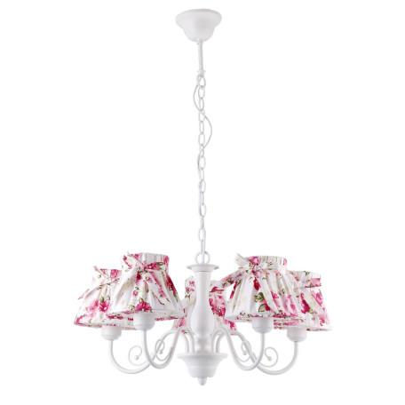 Подвесная люстра Arte Lamp Margherita A7021LM-5WH, 5xE14x40W, белый, розовый, металл, текстиль