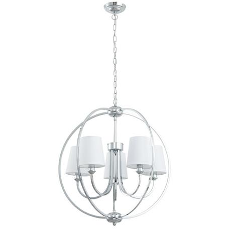Подвесная люстра Arte Lamp Patricia A9022SP-5CC, 5xE14x40W, хром, белый, металл, текстиль