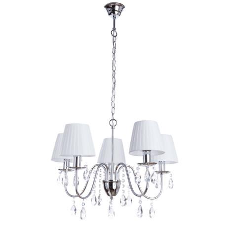 Подвесная люстра Arte Lamp Melisa A9123LM-5CC, 5xE14x40W, хром, белый, прозрачный, металл, текстиль, стекло