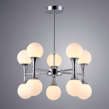 Подвесная люстра Arte Lamp Palla A9162LM-10CC, 10xG9x33W, хром, белый, металл, стекло