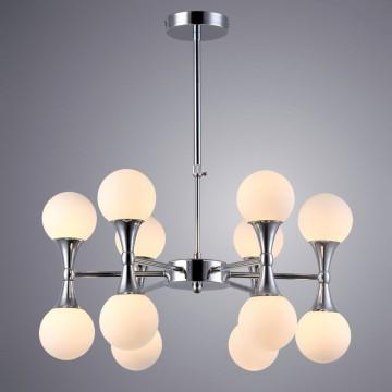 Подвесная люстра Arte Lamp Palla A9162LM-12CC, 12xG9x33W, хром, белый, металл, стекло - миниатюра 1