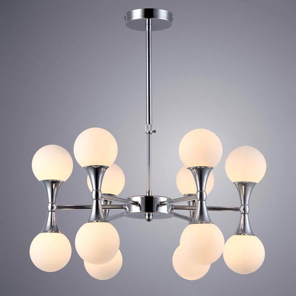 Подвесная люстра Arte Lamp Palla A9162LM-12CC, 12xG9x33W, хром, белый, металл, стекло - фото 1