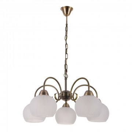 Подвесная люстра Arte Lamp Margo A9317LM-5AB, 5xE27x60W, бронза, белый, металл, стекло