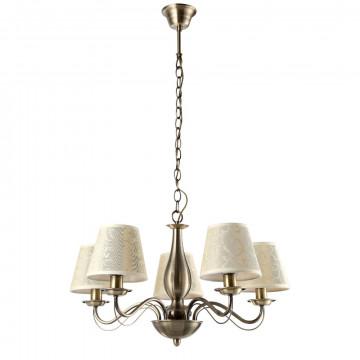 Подвесная люстра Arte Lamp Felicia A9368LM-5AB, 5xE14x40W, бронза, бежевый, металл, текстиль