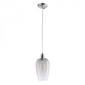 Подвесной светильник Arte Lamp Trento A9291SP-1CC, 1xE27x40W, хром, прозрачный, металл, стекло