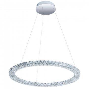 Подвесной светодиодный светильник Arte Lamp Preziosi A6717SP-1CC, LED 36W 4000K 2400lm CRI≥80, хром, прозрачный, металл, хрусталь