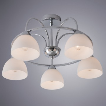 Потолочная люстра Arte Lamp Palermo A6057PL-5CC, 5xE27x40W, хром, белый, металл, стекло
