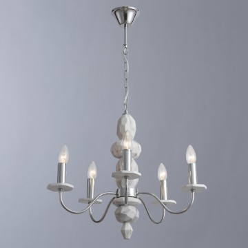 Подвесная люстра Arte Lamp Litizia A6062LM-5WH, 5xE14x40W, хром, белый, металл, пластик
