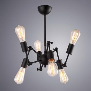 Подвесная люстра Arte Lamp Roots A9190LM-6BK, 6xE27x40W, черный, металл