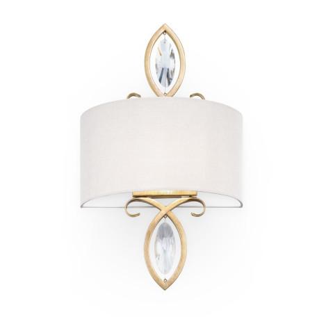 Бра Maytoni Luxe H006WL-01G, 1xE14x40W, матовое золото, бежевый, металл со стеклом, текстиль
