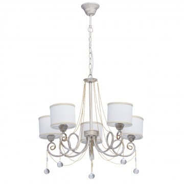 Подвесная люстра MW-Light Виталина 448012405, 5xE14x40W, белый с золотой патиной, белый, золото, прозрачный, металл, текстиль, металл с хрусталем
