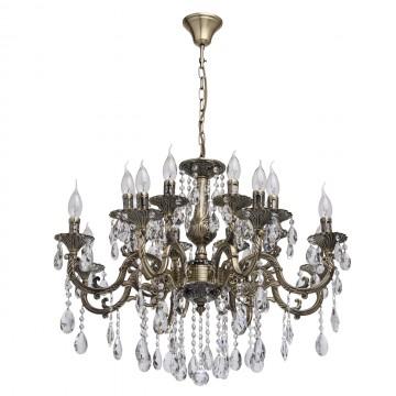 Подвесная люстра MW-Light Тоскана 685010216, 16xE14x40W, бронза, прозрачный, металл, хрусталь