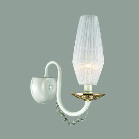 Бра Odeon Light Felicia 3919/1W, 1xE14x40W, белый, золото, прозрачный, металл, текстиль, хрусталь