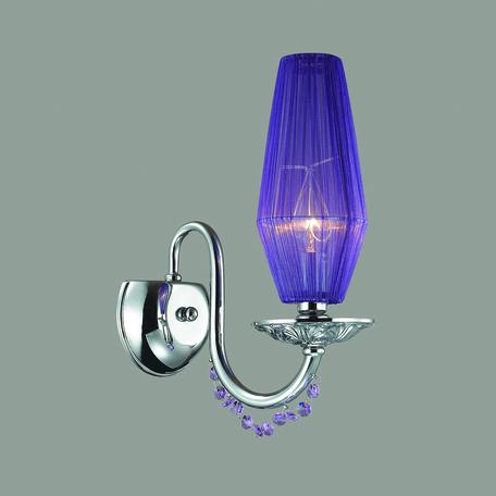 Бра Odeon Light Felicia 3920/1W, 1xE14x40W, хром, фиолетовый, металл, текстиль, хрусталь - миниатюра 1