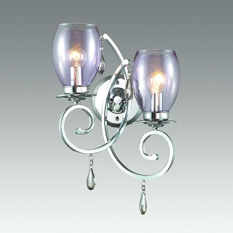 Бра Odeon Light Magenta 3923/2W, 2xE14x40W, хром, сиреневый, янтарь, металл, стекло, хрусталь