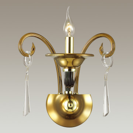 Бра Odeon Light Rocca 3926/1W, 1xE14x40W, зеленый, золото, прозрачный, металл, стекло, хрусталь