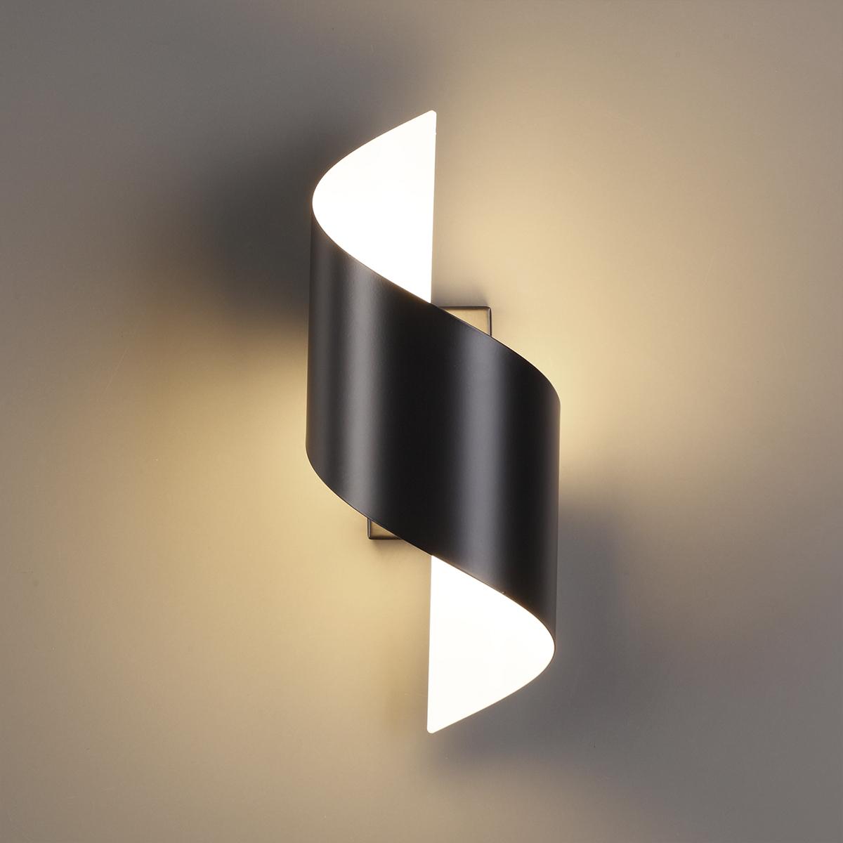 Настенный светодиодный светильник Odeon Light Hightech Boccolo 3542/5LW, LED 5W 3000K 500lm, черный, черный с белым, металл - фото 1