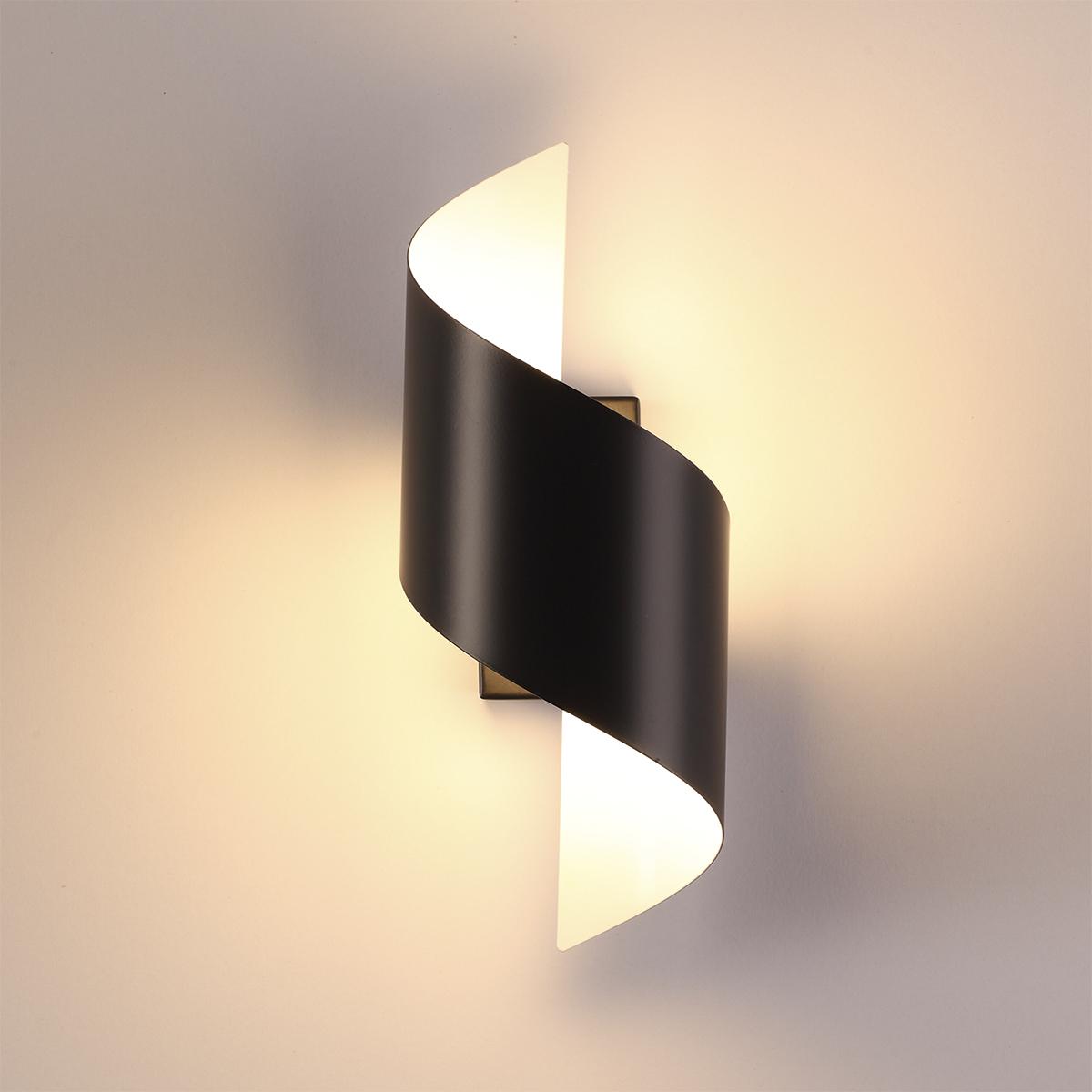 Настенный светодиодный светильник Odeon Light Hightech Boccolo 3542/5LW, LED 5W 3000K 500lm, черный, черный с белым, металл - фото 2