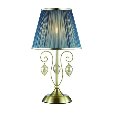 Настольная лампа Odeon Light Classic Niagara 3921/1T, 1xE14x40W, бронза, синий, янтарь, металл, текстиль, стекло
