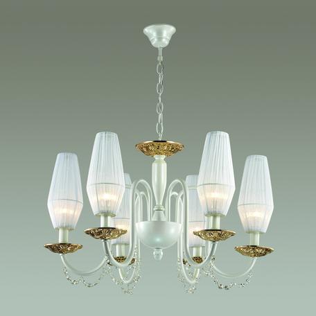 Подвесная люстра Odeon Light Felicia 3919/6, 6xE14x40W, белый, золото, прозрачный, металл, текстиль, хрусталь