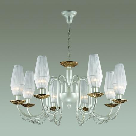 Подвесная люстра Odeon Light Felicia 3919/8, 8xE14x40W, белый, золото, прозрачный, металл, текстиль, хрусталь