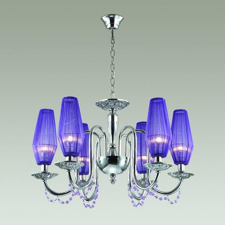 Подвесная люстра Odeon Light Felicia 3920/6, 6xE14x40W, хром, фиолетовый, металл, текстиль, хрусталь