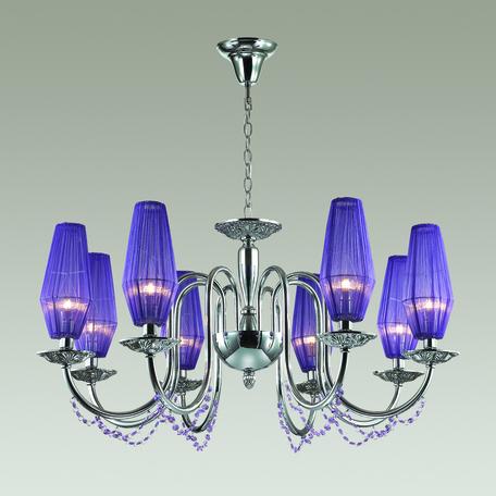 Подвесная люстра Odeon Light Felicia 3920/8, 8xE14x40W, хром, фиолетовый, металл, текстиль, хрусталь