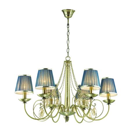 Подвесная люстра Odeon Light Classic Niagara 3921/6, 6xE14x40W, бронза, синий, янтарь, металл, текстиль, стекло