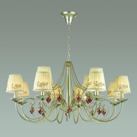 Подвесная люстра Odeon Light Adriana 3922/12, 12xE14x40W, серебро, бежевый, коньячный, розовый, металл, текстиль, стекло