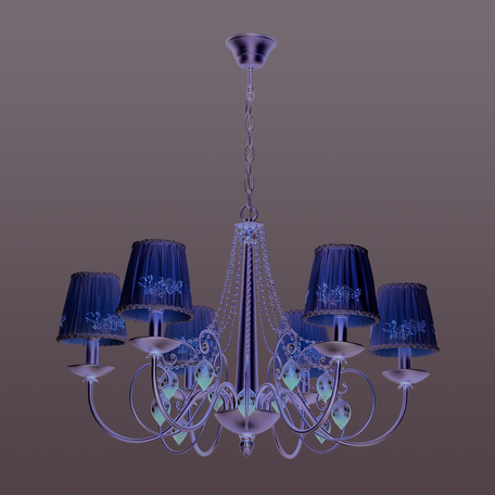 Подвесная люстра Odeon Light Adriana 3922/6, 6xE14x40W, серебро, бежевый, коньячный, розовый, металл, текстиль, стекло