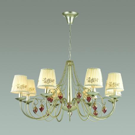 Подвесная люстра Odeon Light Adriana 3922/8, 8xE14x40W, серебро, бежевый, коньячный, розовый, металл, текстиль, стекло